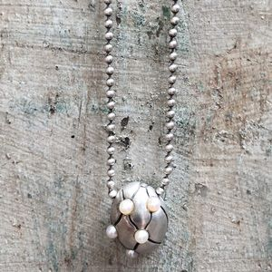 Lisa Jenks Sterling Silver/ Pearl Pendant Necklace